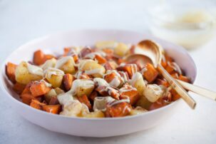 Roasted Pineapple and Sweet Potatoes with Cinnamon Cashew Drizzle
